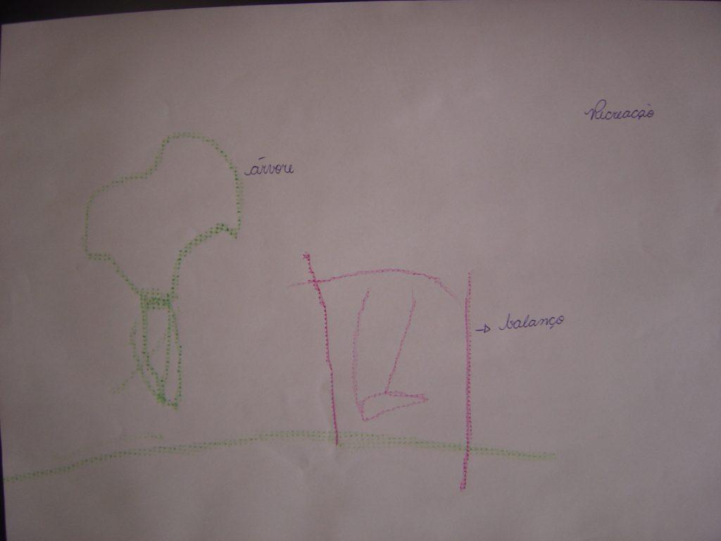 Foto 3: Figura representando uma árvore (em verde) e um balanço na cor rosa. Da árvore vê-se a copa e o tronco. Do balanço vem-se riscos representando respectivamente: as barras de sustentação lateral e superior, bem como as correntes e o assento.