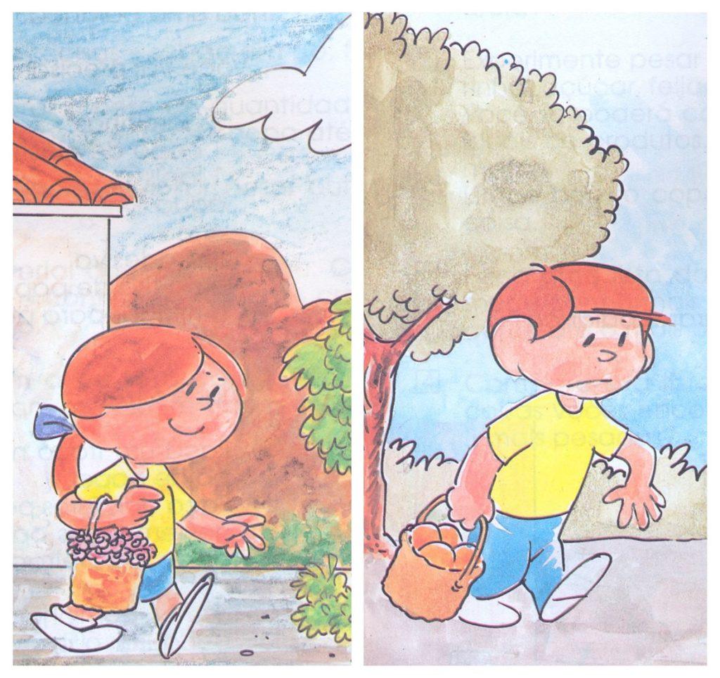 Figura do lado esquerdo: Menina carregando cesto de flores. Figura do lado direito: Menino carregando cesto de frutas.